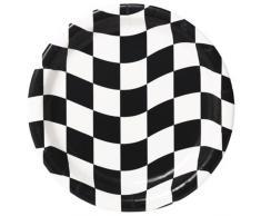 Creative convertir 8 Fils Ronds Assiettes Plates, Noir et Blanc à Carreaux
