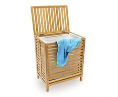 Relaxdays 10018978 Panier à linge corbeille bambou coffre bois sac rangement HxLxP: 60x50,5x35,5cm bac à vêtement avec couvercle, blanc et marron