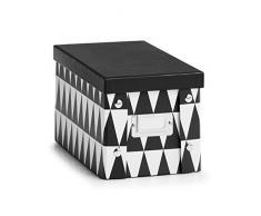 Zeller Boîte de Rangement en Carton Triangle, Schwarz/Weiß, ca. 16,5 x 28 x 15 cm
