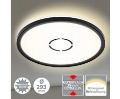 Briloner Leuchten 3391-015 Plafonnier LED, lampe de plafond avec effet de rétroéclairage, 18 W, 2.400 lumen, 4.000 kelvin, rond, blanc et noir, Ø 29,3cm