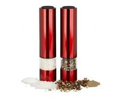 Relaxdays 10023276 Moulin à sel électrique, poivre, épices, salière, poivrier inox, meule en céramique, lot de 2 LED piles, rouge, Plastique, 22 x 5 x 5 cm