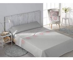 SECANETA Stilia Parure de lit 3 pièces avec Drap-Housse, Drap Plat et taie doreiller Motif Corail 90 x 190/200 cm