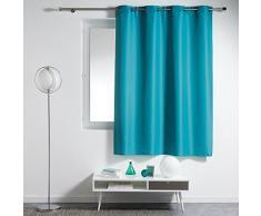 Douceur dIntérieur Essentiel Rideau à œillets Plastique/Polyester Bleu 140 x 180 cm