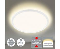 Briloner Leuchten 7155-416 Plafonnier LED rond avec effet rétro-éclairé 18 W 2400 lm 4000 K Blanc Ø 29,3 cm