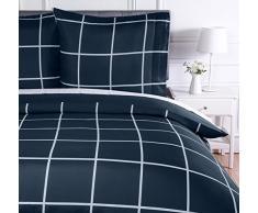 AmazonBasics Parure de lit avec housse de couette en microfibre, 140 x 200 cm, Motif écossais bleu marine