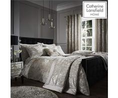 Catherine Lansfield Crushed Velvet Parure pour Couette, Polyester, Naturel, Super King