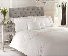 Chateau de Belle Maison surélevée et Ruban Rose Parure de lit avec Housse de Couette en Polycoton, crème, Simple