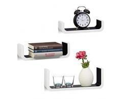 Relaxdays Étagère tablette flottante murale en forme de U lot de 3 en MDF compartiment coloré 40 cm large, blanc-noir
