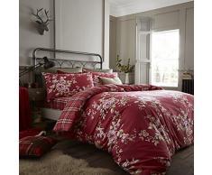 Catherine Lansfield Canterbury Check Parure de lit avec Housse de Couette 240x260x1 cm Rouge