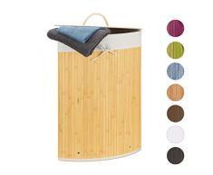 Relaxdays Panier Bambou, Corbeille Linge Pliante, 60 L, Sac intérieur Coton, 65 x 49,5 x 37 cm, crème