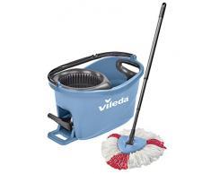 Vileda Turbo EasyWring & Clean Kit de Nettoyage Complet avec Seau équipé d'Un système d'essorage et Balai à Franges Turbo Colors Bleu. Bleu