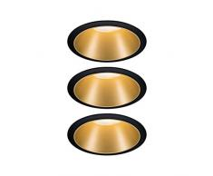Paulmann 93404 Lot de 3 spots LED encastrables Cole rond avec 3 x 6,5 W à intensité variable Noir, or mat Spot encastrable en plastique, aluminium, plafonnier 2700 K, 19,5 W