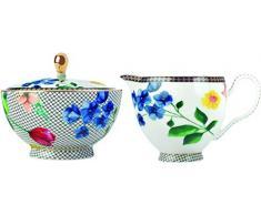 Maxwell Williams HV0058 Pot à lait et sucrier Motif Contessa, Porcelaine, blanc, Ensemble 2 pièces