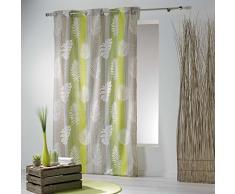 douceur dintérieur rideau a oeillets 140x240 cm polycoton lanka vert