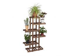 Relaxdays 10020746 Etagère à fleurs en bois escalier pour plantes 5 niveaux échelle plantes intérieure HxlxP: 125 x 81 x 25 cm marron foncé