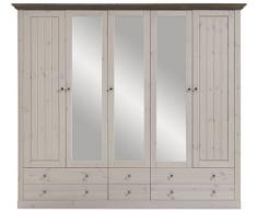 Steens Group 3171150269001F Monaco Armoire Pin Massif Blanc/Gris 228 x 60 x 202 cm