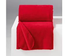 Douceur dIntérieur Jeté de Canapé Flanelle Calinou Polyester/Jacquard Rouge 220 x 180 cm