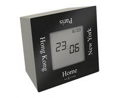 NeXtime 5190zw Turn4Time Horloge Métal Noir 7,4 x 7,4 x 4 cm