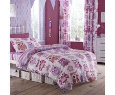 Just Contempo Parure de lit avec drap-housse et rideaux Motif hibou Rose/violet, Mélange de coton, Roses, Housse de couette simple (enfant)