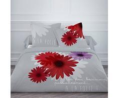 TODAY 015750 A la Folie Housse de Couette 220 x 240 cm + 2 Taies doreiller 63 x 63 cm Coton Gris/Rouge