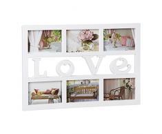 Relaxdays Cadre photos pêle-mêle 6 photos Galerie mur cadre mural LOVE plastique HxlxP: 33 x 48 x 1,5 cm, blanc