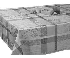 Le linge de Jules Nappe Anti-Taches Jacquard Gris - Taille : Rectangle 150x240 cm
