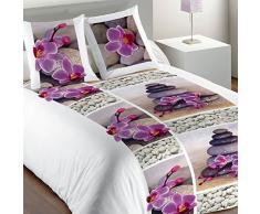Les Ateliers du Linge - Parure de lit - Housse de Couette Enfant - Housse de Couette 140 x 200 - Parure de lit 100% Coton - Parure de lit avec Housse de Couette - Taies doreiller - Zen Flower