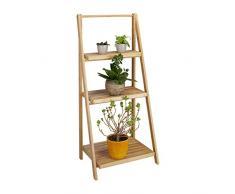 Relaxdays Escalier étagère pour fleurs en bambou 3 étages pliant rangement bois plantes pliable nature HxlxP: 99 x 45 x 32 cm, nature