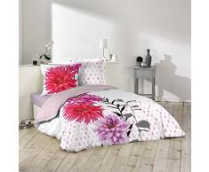 Douceur dIntérieur Florista Parure de Couette 3 P 42 Fils, Coton, Multicolore, 240x260 cm