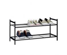Relaxdays 10020563 Meuble à chaussures SANDRA avec 2 étages étagère en métal HxlxP: 33,5 x 69,5 x 26 cm pour 6 paires commode avec poignées noir