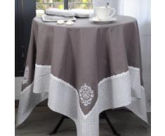Lovely Casa Meline Nappe, Coton, Gris, 150 x 150 cm