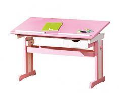 Inter Link Bureau Étudiant Bureau Table de Travail Bureau Enfants Bois Massif MDF Laqué Rose et Blanc LxHxP: 109 x 63-96 x 55 cm