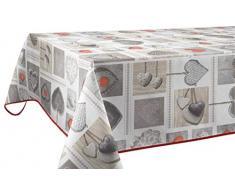 Le linge de Jules Nappe Anti-Taches Coeurs - Taille : Rectangle 150x300 cm