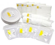 HEKU Ensemble vaisselle jetable haut de gamme (100 assiettes jetables en carton, 100 couteaux, 100 fourchettes, 100 serviettes de table 3 plis, 100 gobelets de 0,2Â l