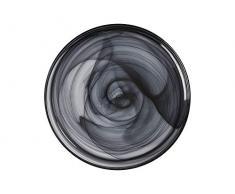 Maxwell Williams 5251568 Lot de 6 assiettes marblesques avec effet tourbillon en verre fait main Blanc 18,5 cm, Verre fait main., Noir , 34 cm
