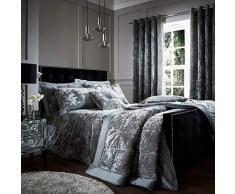 Catherine Lansfield Parure de lit en Velours froissé, Polyester, Silver, Double