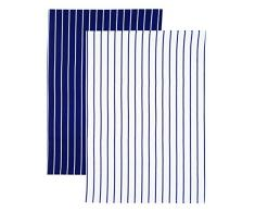 Kitchen Craft KCBSTTPK2 Set de 2 Torchons, Coton, Bleu/Blanc, 9x12 cm