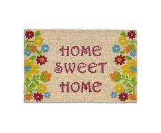 Relaxdays Paillasson fibres de coco tapis de sol HOME SWEET HOME 60x40 face inférieure caoutchouc antidérapant porte entrée motifs inscription et fleurs , marron