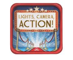 Creative Converting Lot de 8 assiettes carrées Hollywood Lights de 9 cm Rouge/bleu/blanc