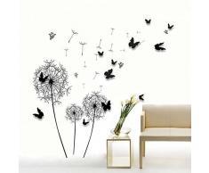 Walplus Autocollant Mural Énorme Noir Pissenlit 3D Papillons Amovible Art Décalques Vinyle Maison Décoration DIY Vivant Chambre Bureau Papier Peint DEnfants Cadeau, Multicolore