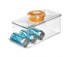 iDesign bac rangement frigo à couvercle, petite boîte conservation alimentaire en plastique pour neuf canettes, boîte alimentaire pour conserves, transparent