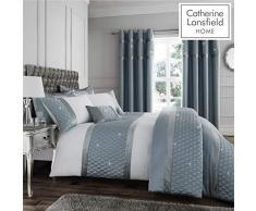 Catherine Lansfield Parure de lit Double avec Sequins, Polyester-Coton, Bleu Canard, Double