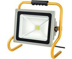 Brennenstuhl Projecteur portable avec puce LED pour lextérieur et lintérieur (spot LED dextérieur 50 W, IP65, lumière du jour) Couleur argenté/jaune