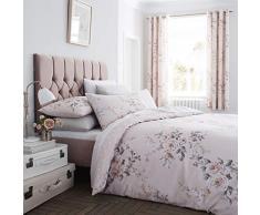 Catherine Lansfield Canterbury Housse de Couette + taie doreiller en Coton Rose 140 x 200 + 65 x 65 2