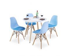 Relaxdays Chaise salle à manger design retro vintage assise rembourrée lot de 4 H x l x P: 82 x 47 x 55 cm cuisine moderne bureau, bleu