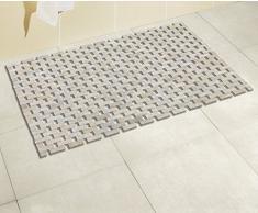 WENKO 22106100 Tapis de bain Bamboo Blanc - avec envers en revêtement antiglisse, Bambou, Blanc