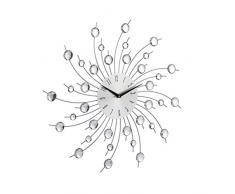 Relaxdays Horloge Murale Soleil avec Perles Strass Diamant Moderne Cuisine Salon sans Tic-Tac 50 cm, Argent