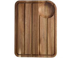 Jamie Oliver jb1903 Jo Planche à découper avec rainures jus Système Planche à découper Bois, Acier Inoxydable, 46 x 33,5 x 2,5 cm