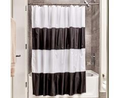 InterDesign Zeno rideau de douche textile, 183,0 cm x 183,0 cm rideau douche imperméable en polyester, rideau lavable à rayures, noir/blanc