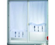 HomeMaison 22953-1 Vitrage Étamine à la Paire à Remonter Bas Brodé Motifs Couverts Polyester Blanc 0,2 x 50 x 130 cm